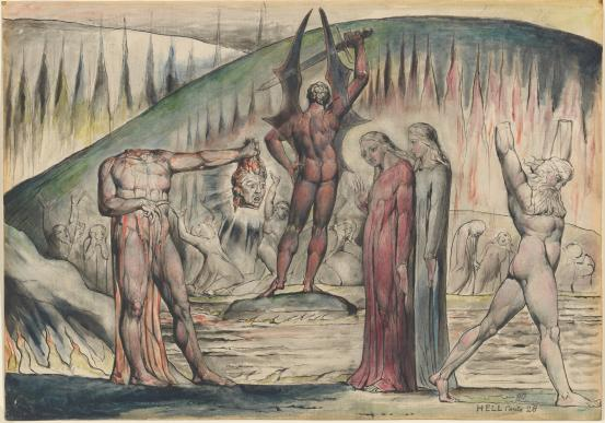 "william blake ""The schismatics and sowers of discord- Moscan de'Lamberti and Bertrand de Born"""