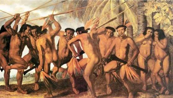 """""""Dança dos índios Tapuia"""", de Albert Eckout (séc. XVII)"""