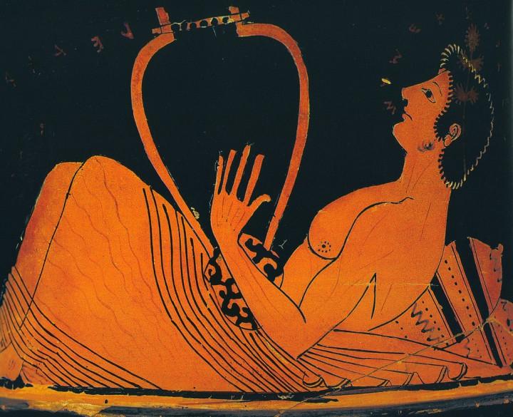 Lírico grego, imagem de um vaso