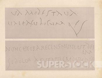 """um graffiti de pompeia, onde alguém dedica um dístico de propércio a uma jovem chamada modesta, para anunciar o rompimento. a tradução do dístico seria a seguinte: """"Agora a ira é nova — é hora de rompermos!     Se a dor sumir, assomará o Amor."""""""