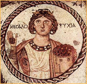 """detalhe do mosaico """"megalopsychia"""" (""""magnanimidade""""), em antioco, séc. V. medidas: 7 m. X 7.20m"""