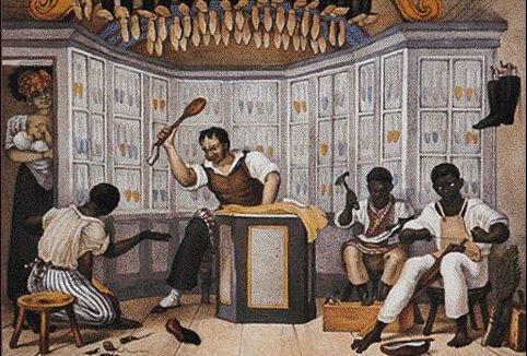 5 sapateiros escravos (segundo Debret, 1834-9)