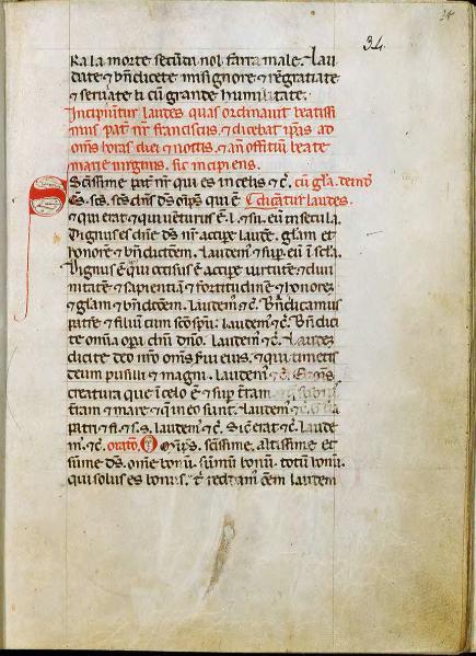 Manuscrito mais antigo do poema, séc. XIII. Códice 338, f.f. 33r - 34r, sec. XIII - Biblioteca del Sacro Convento di San Francesco, Assisi