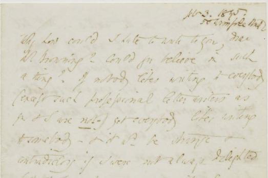 """""""Why how could I hate to write to you; dear Mr. Browning?"""" 3 de fevereiro de 1845, carta de Elizabeth a Robert."""