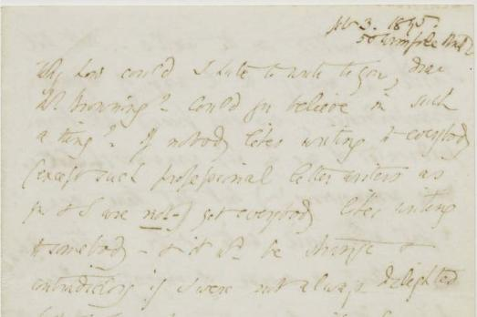 """Why how could I hate to write to you; dear Mr. Browning?"" 3 de fevereiro de 1845, carta de Elizabeth a Robert."