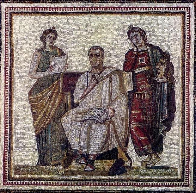 mosaico de virgílio, entre duas usas (à sua direita, calíope, da poesia épica, à sua esquerda melpômene, da tragédia). hadrumeto (atual sousse), séc. iii a.c.