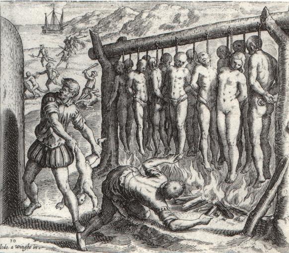 """Índios exterminados — imagem de De Bry que ilustra livro de Bartolomeu de las Casas, """"Brevisima Relacion De La Destruycion De Las Indias"""", 1598 (edição latina)"""