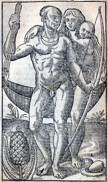 Família de ameríndios do BRasil, por Jean de Léry, 1611.