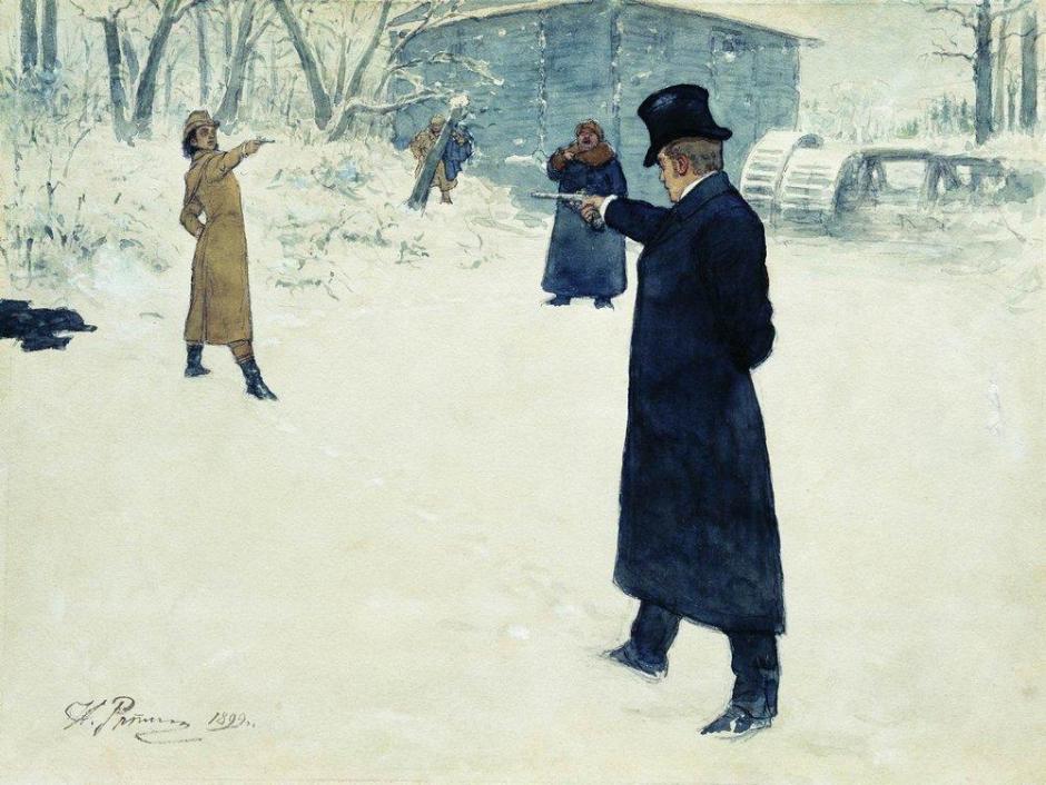 O duelo de Oneguin e Lensky, gravura de Ilya Yefimovich Repin, 1898.