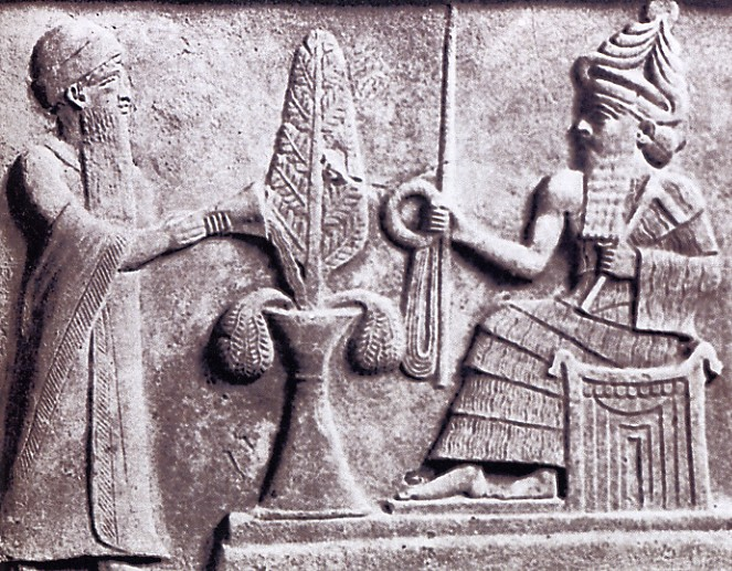 Ur-Nammu diante do deus do sol, Utu/Shamash