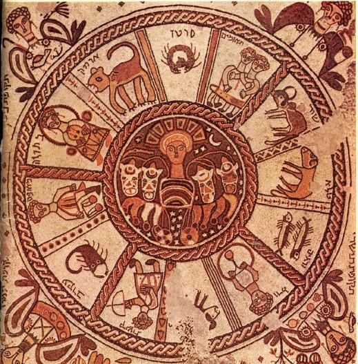 mosaico de uma sinagoga do século VI em Beit Alpha representando o zodíaco