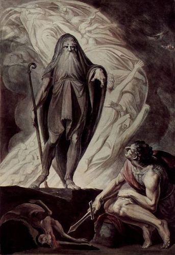 Johann Heinrich Füssli - Tirésias Aparece para Ulisses (1741)